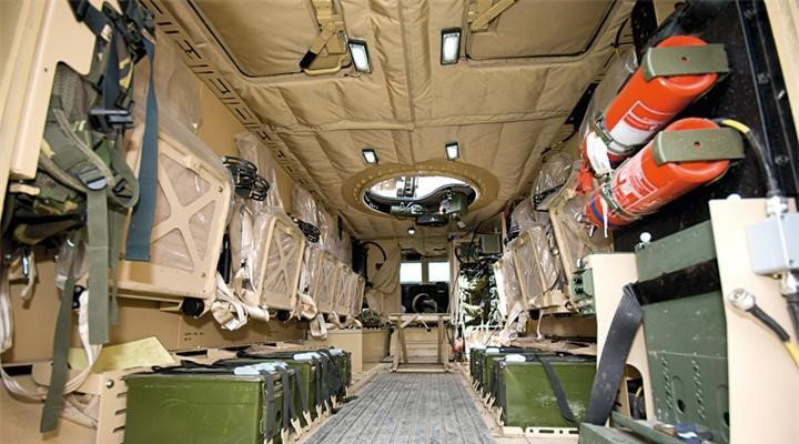 Interior photo of an armoured military vehicle