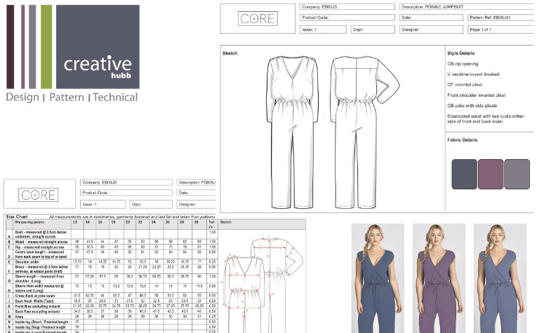 A screenshot of a fashion technical pack